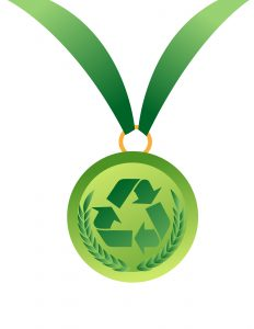 medal vector illustration with recycle sign